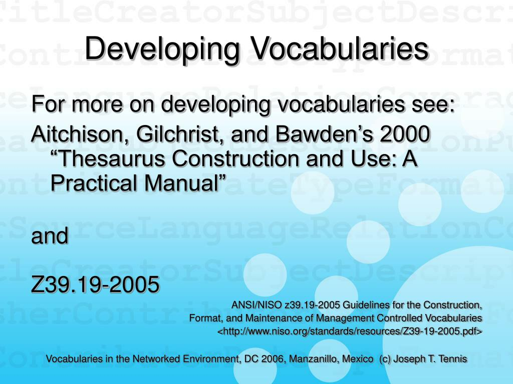 Developing Vocabularies