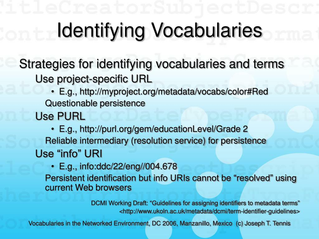 Identifying Vocabularies