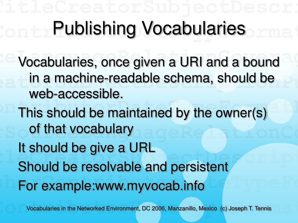 Publishing Vocabularies