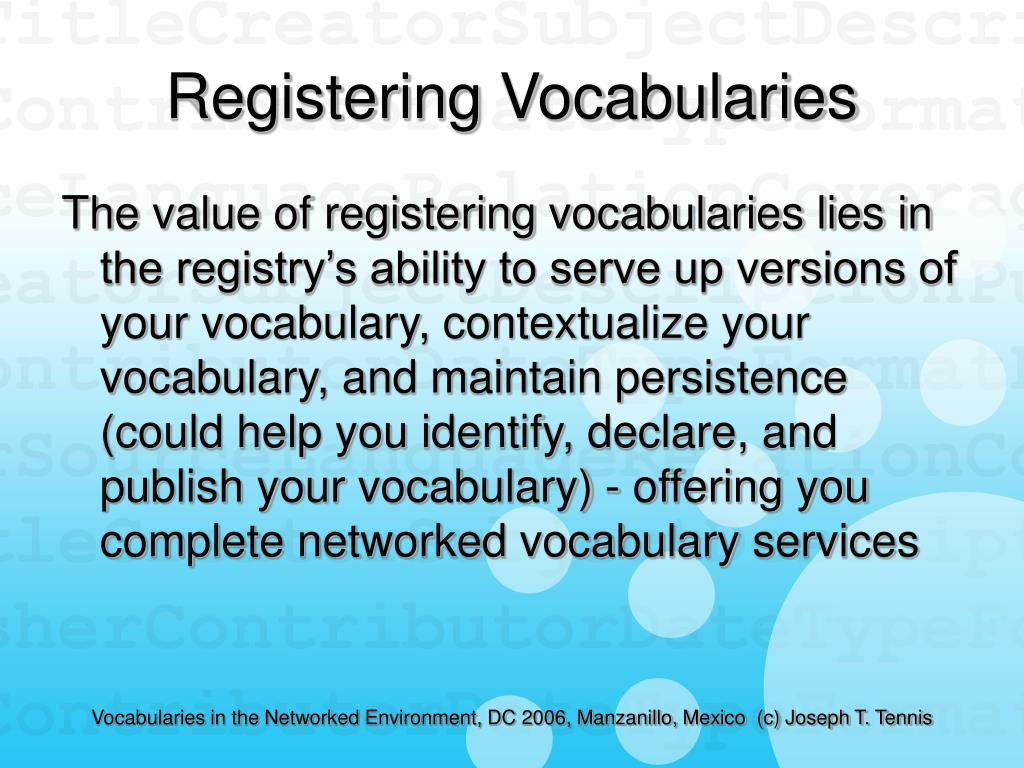 Registering Vocabularies