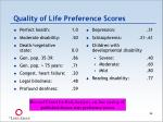 quality of life preference scores