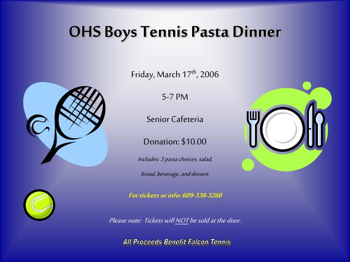 Ohs boys tennis pasta dinner