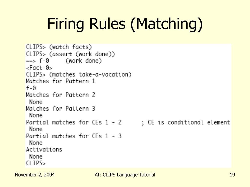 Firing Rules (Matching)