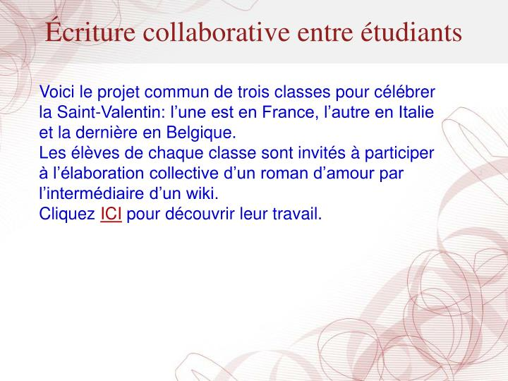 Écriture collaborative entre étudiants