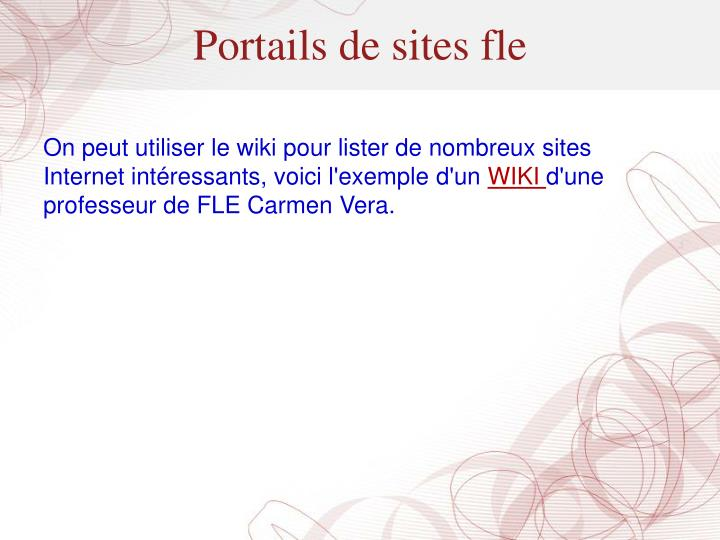 Portails de sites fle