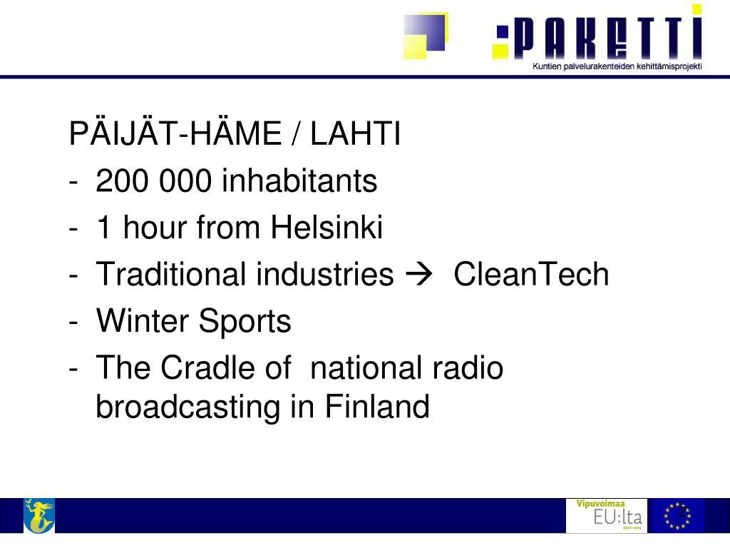 PÄIJÄT-HÄME / LAHTI