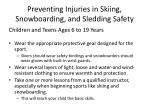 preventing injuries in skiing snowboarding and sledding safety