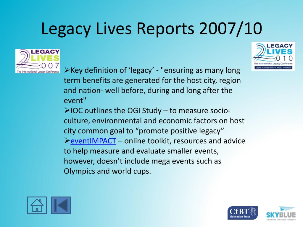 Legacy Lives Reports 2007/10