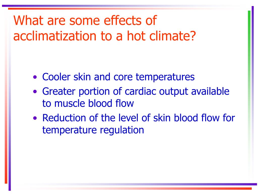 What are some effects of acclimatization to a hot climate?
