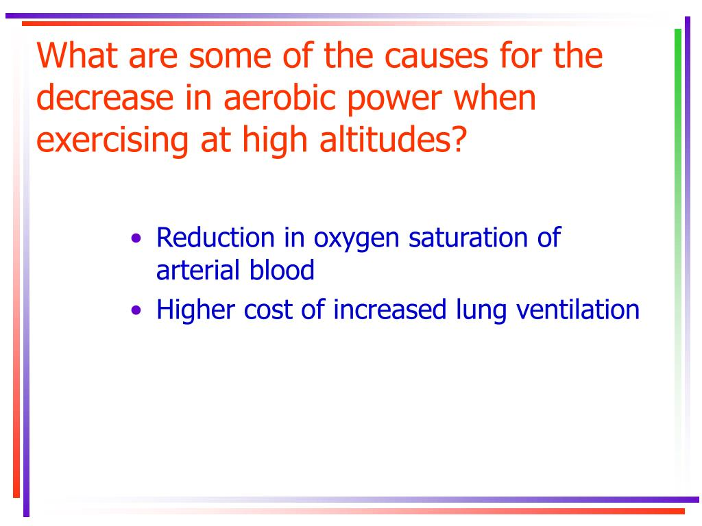 What are some of the causes for the decrease in aerobic power when exercising at high altitudes?