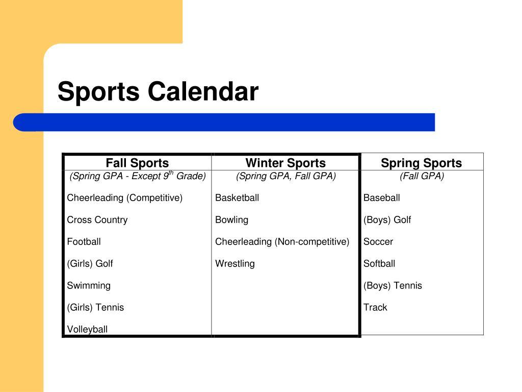 Sports Calendar