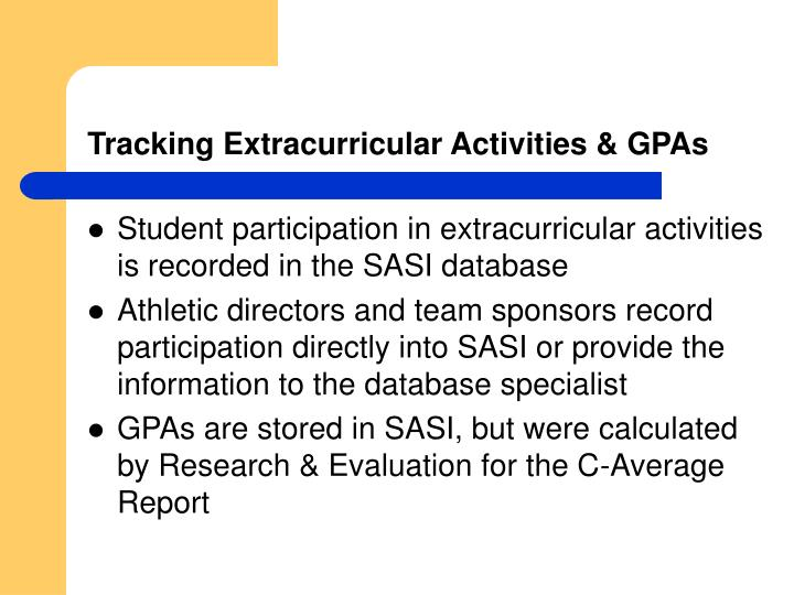 Tracking extracurricular activities gpas