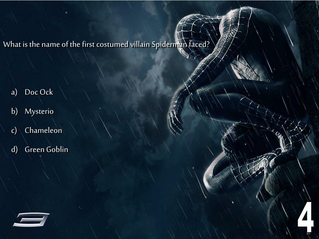 What is the name of the first costumed villain Spiderman faced?
