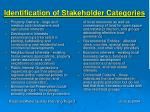 identification of stakeholder categories