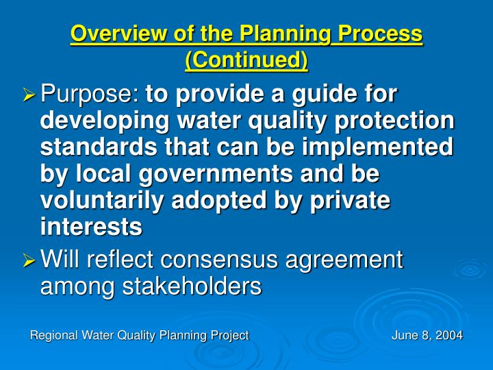 Overview of the Planning Process (Continued)