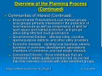 overview of the planning process continued3