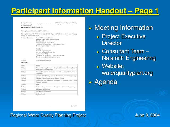 Participant Information Handout – Page 1