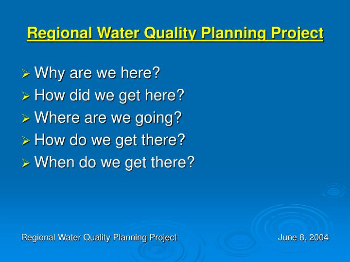 Regional Water Quality Planning Project