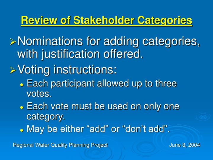 Review of Stakeholder Categories