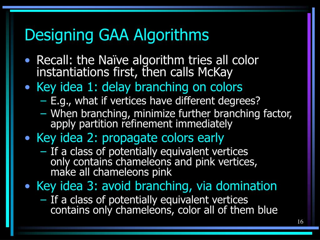 Designing GAA Algorithms