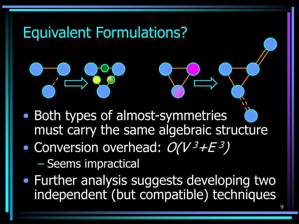 Equivalent Formulations?