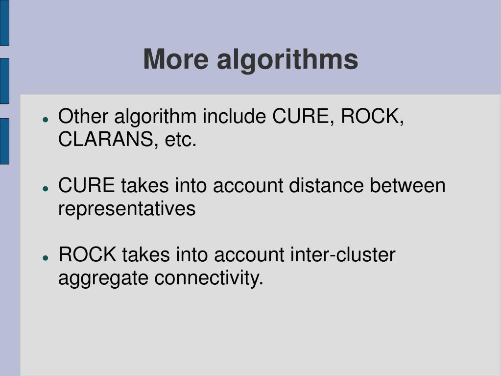 More algorithms