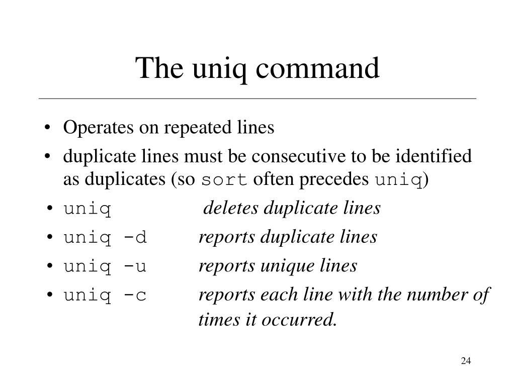The uniq command