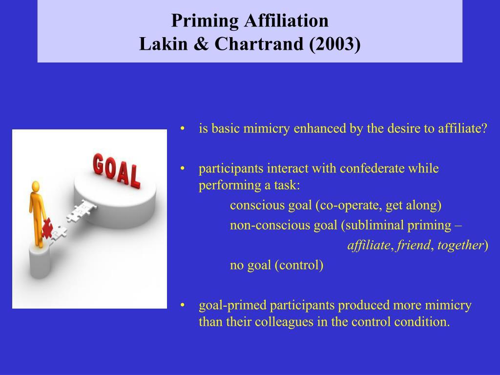 Priming Affiliation