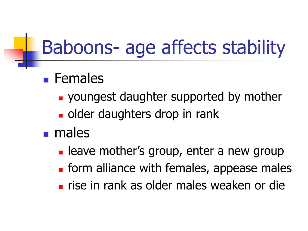 Baboons- age affects stability