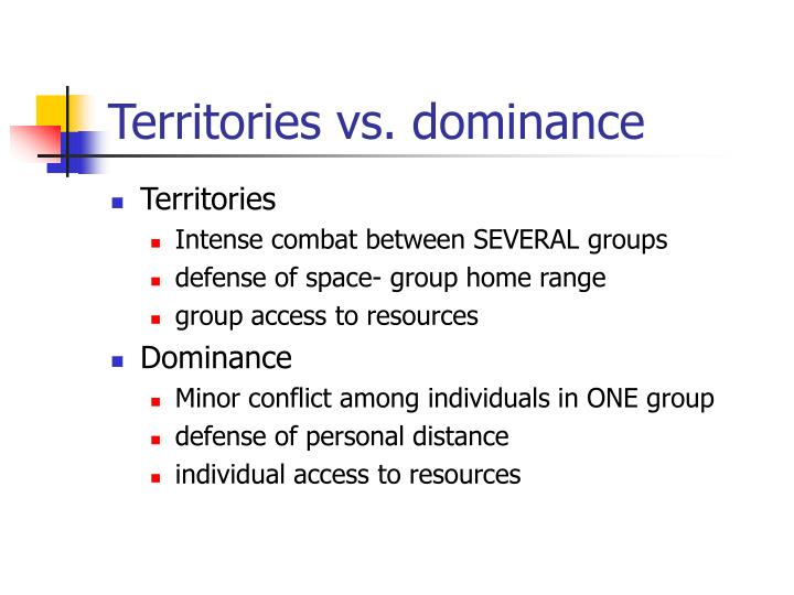 Territories vs dominance