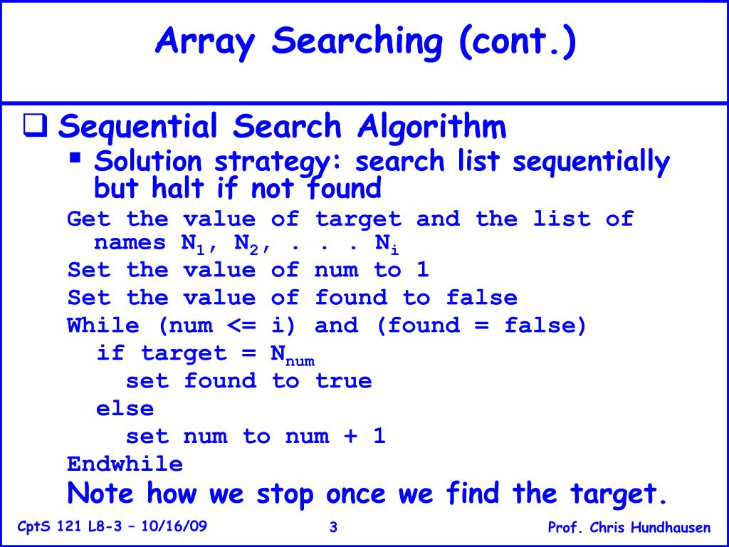 Array Searching (cont.)