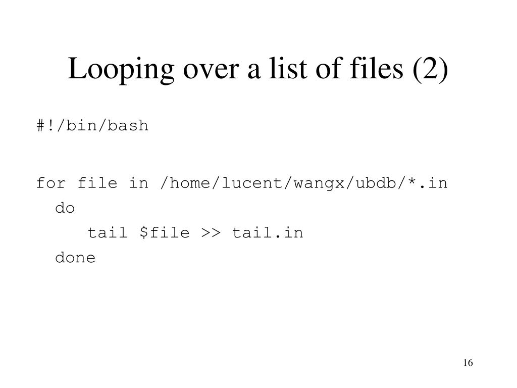 Looping over a list of files (2)