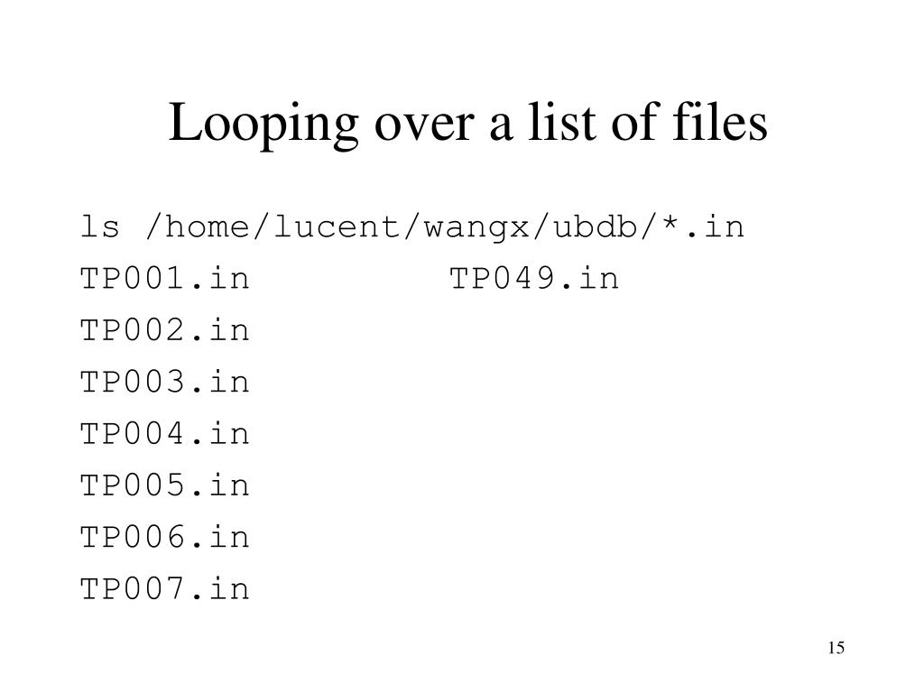 Looping over a list of files