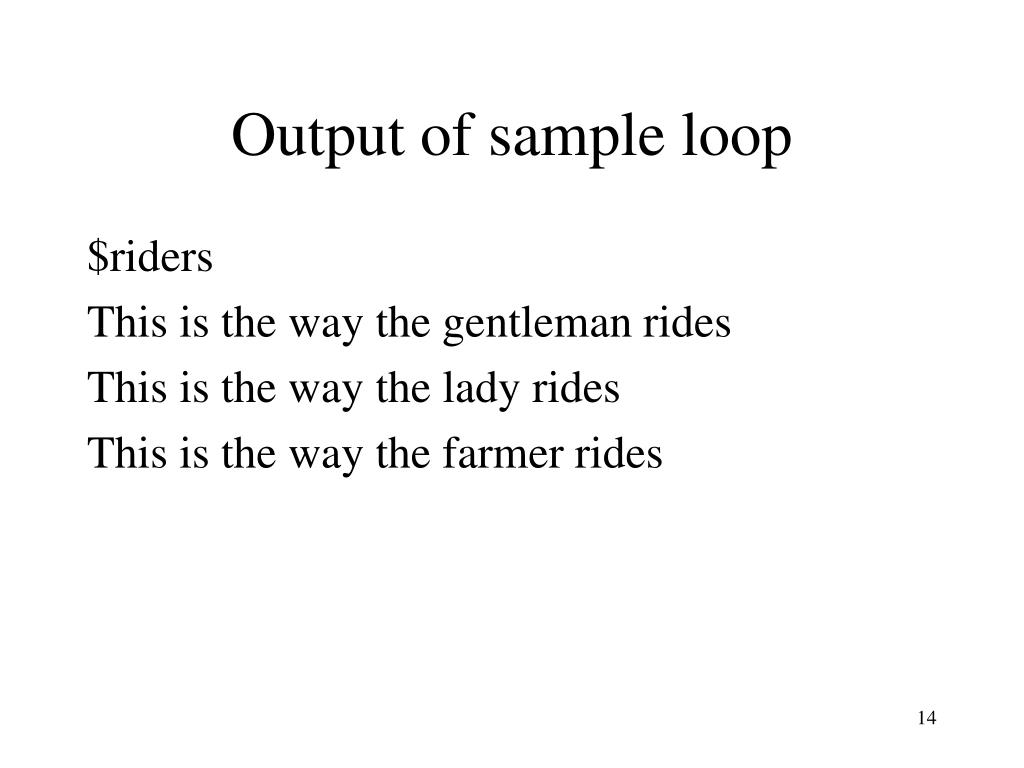 Output of sample loop