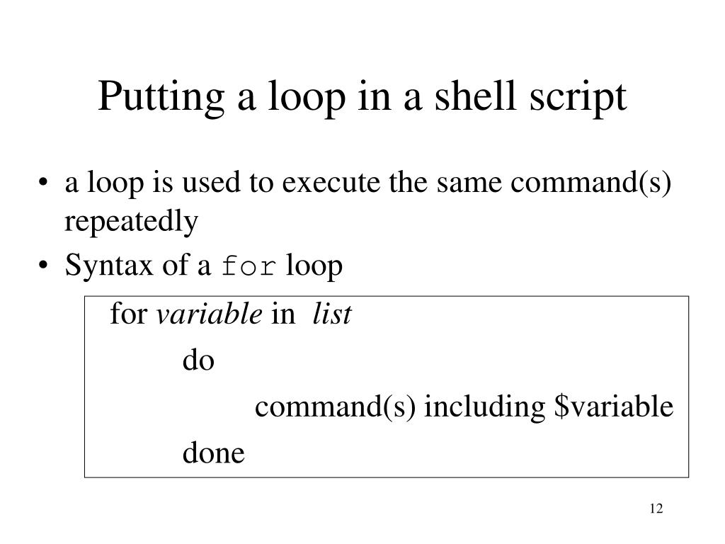 Putting a loop in a shell script