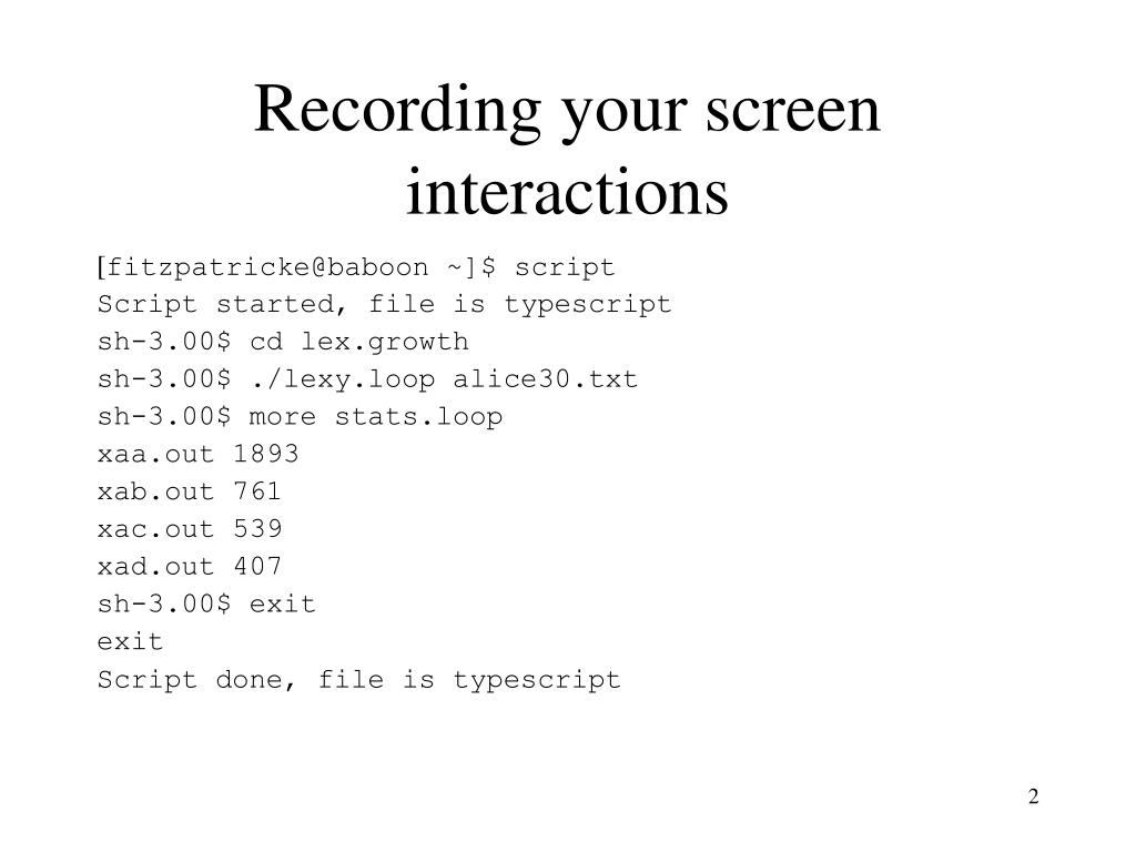Recording your screen interactions