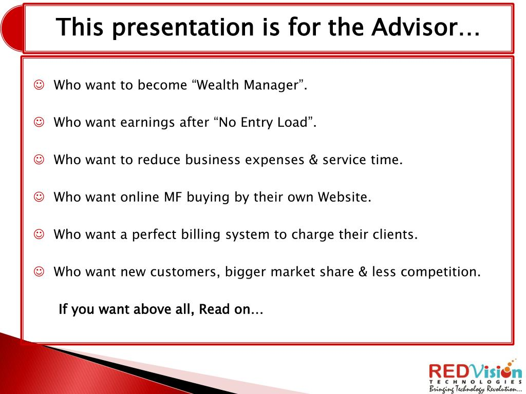 "Who want to become ""Wealth Manager""."