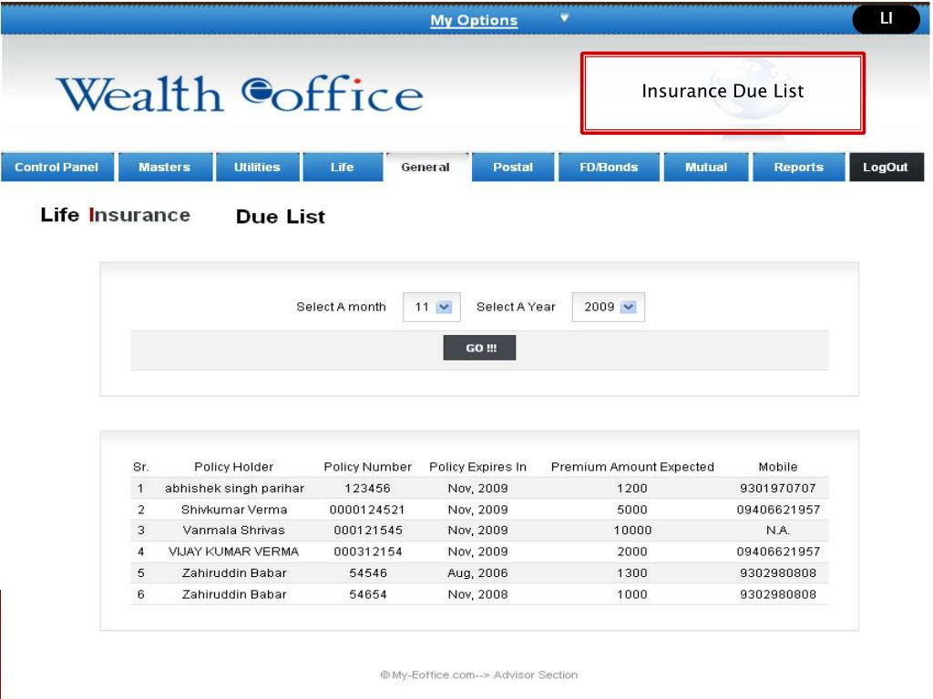 Insurance Due List