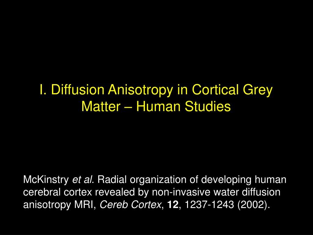 I. Diffusion Anisotropy in Cortical Grey Matter – Human Studies