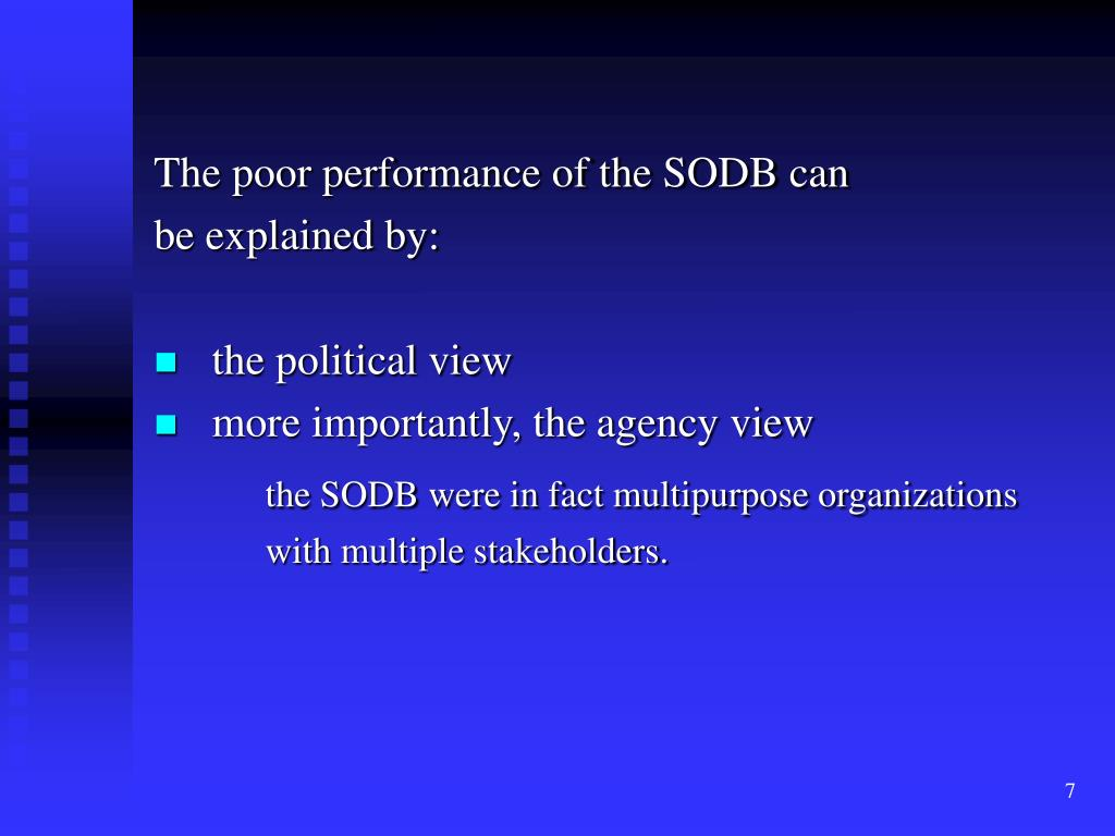 The poor performance of the SODB can