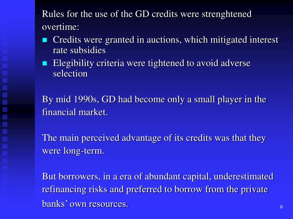 Rules for the use of the GD credits were strenghtened