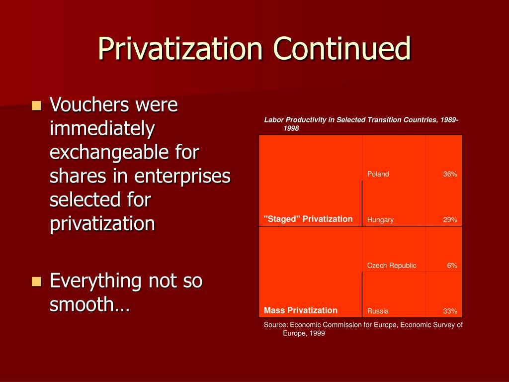 Privatization Continued