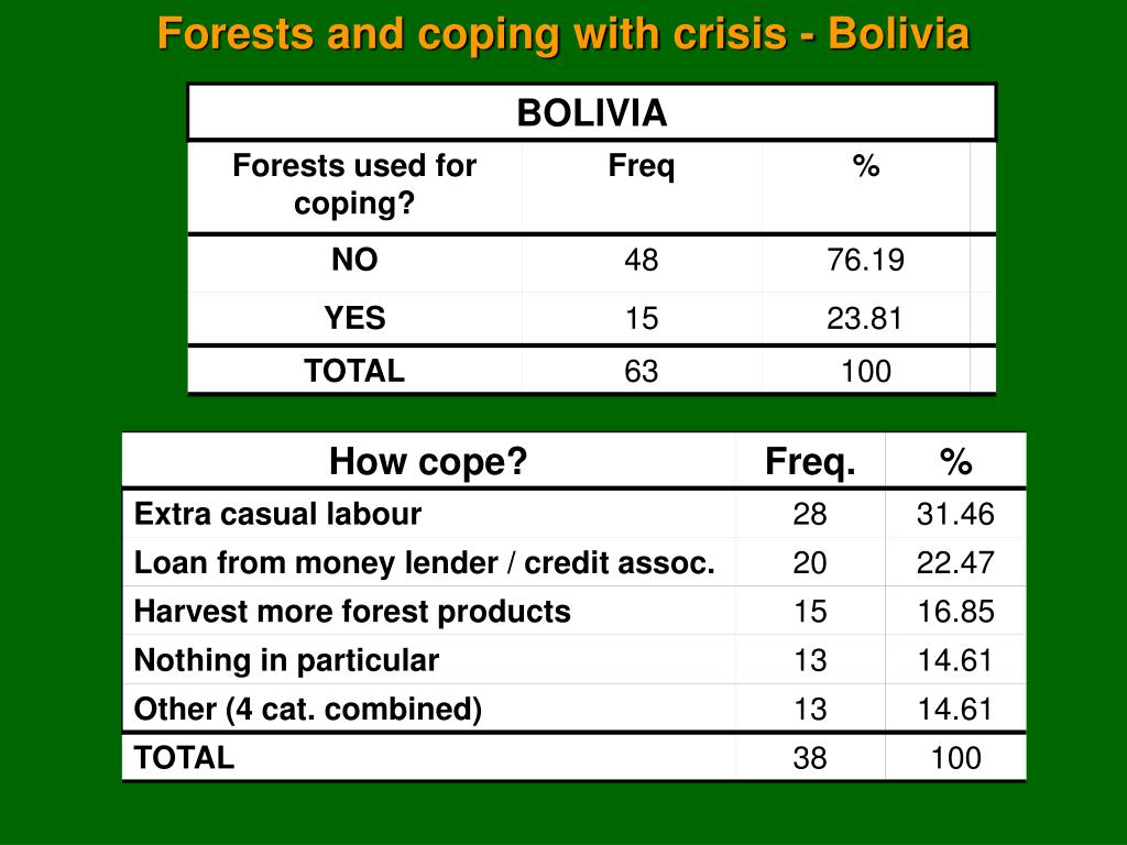 Forests and coping with crisis - Bolivia