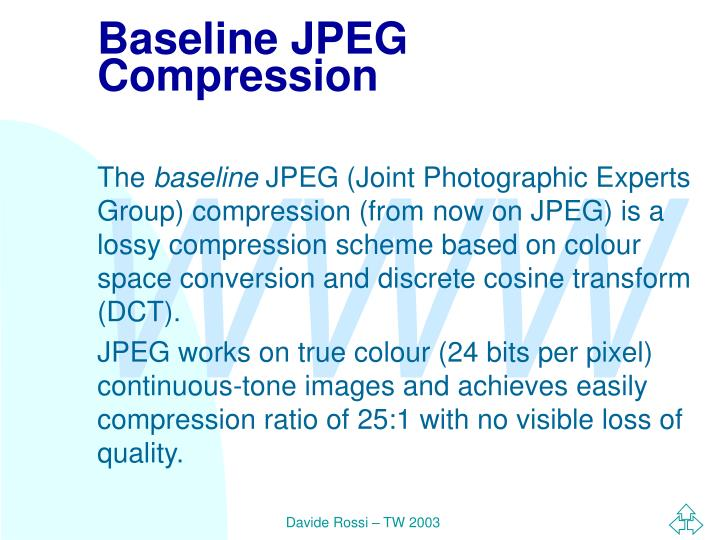 Baseline JPEG Compression