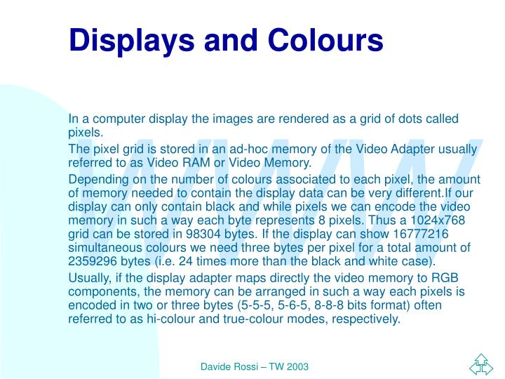 Displays and Colours