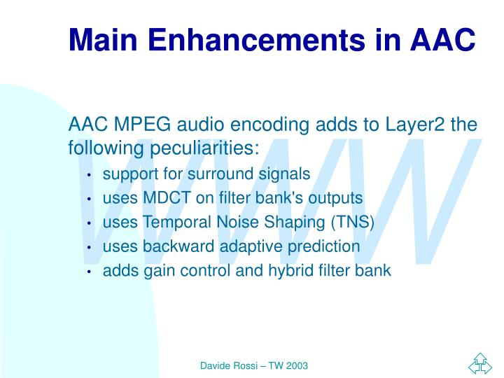 Main Enhancements in AAC