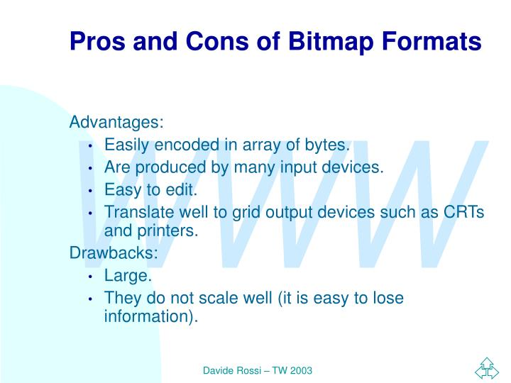 Pros and Cons of Bitmap Formats