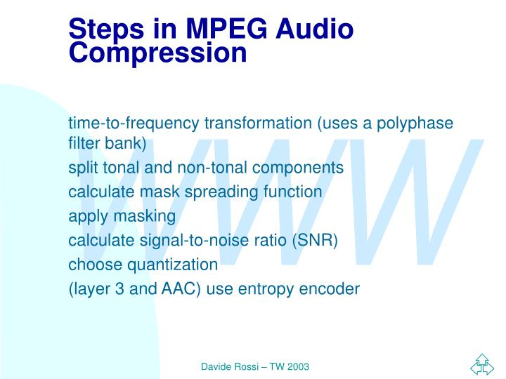 Steps in MPEG Audio Compression