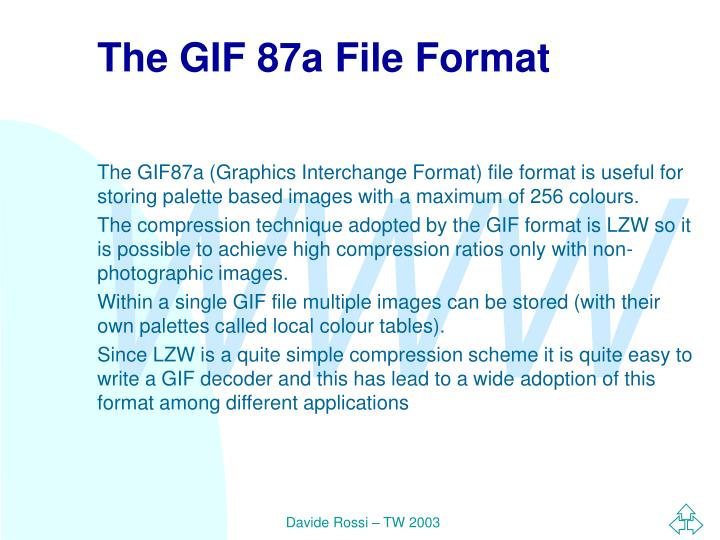 The GIF 87a File Format