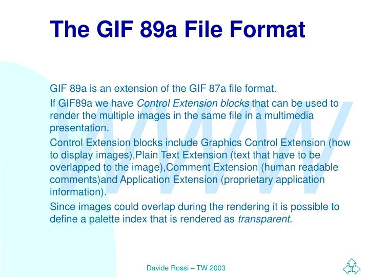 The GIF 89a File Format